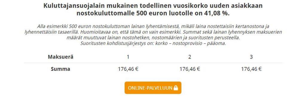 Eurolimiitin kulut ja maksuerät